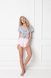 Aruelle -  Piżama Grace Short Grey-Pink szaro-różowy
