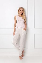 Aruelle -  Piżama Priscilla Long różowo-ecru