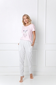 Aruelle -  Piżama Trixie Long różowo-szary
