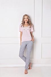Aruelle -  Piżama Wild Look Long różowo-szary