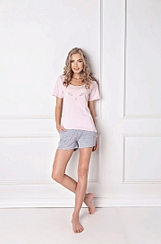 Aruelle -  Piżama Wild Look Short różowo-szary
