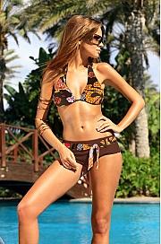 Ewlon -  Kostium kąpielowy Sara  brązowo-pomarańczowy