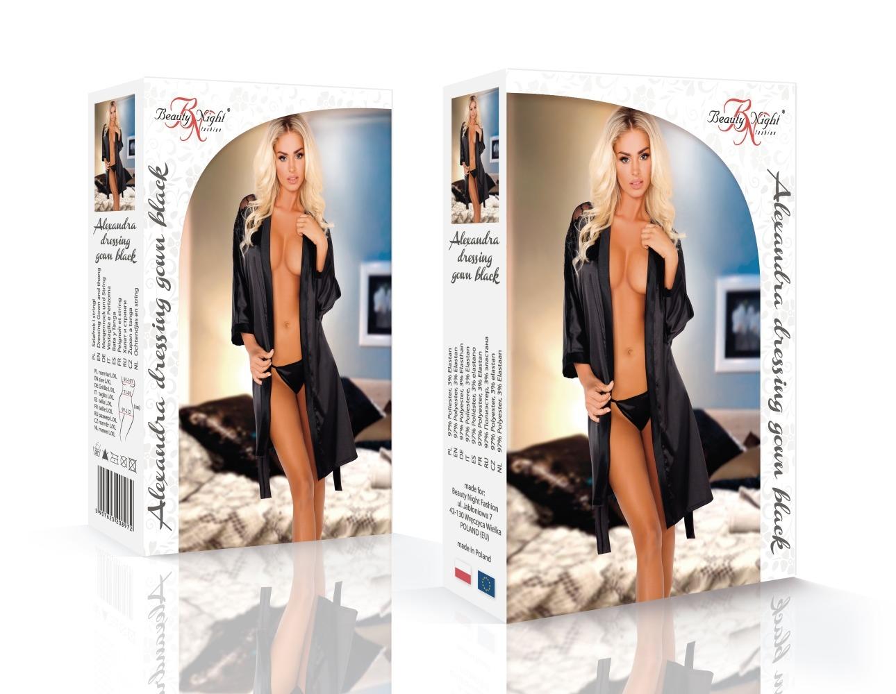 Alexandra dressing gown black - Beauty Night
