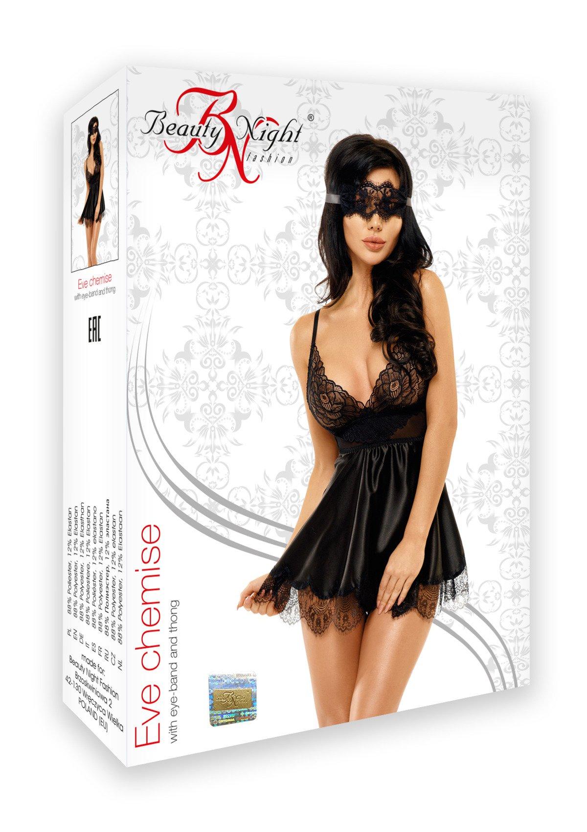 Eve chemise with mask black - Beauty Night