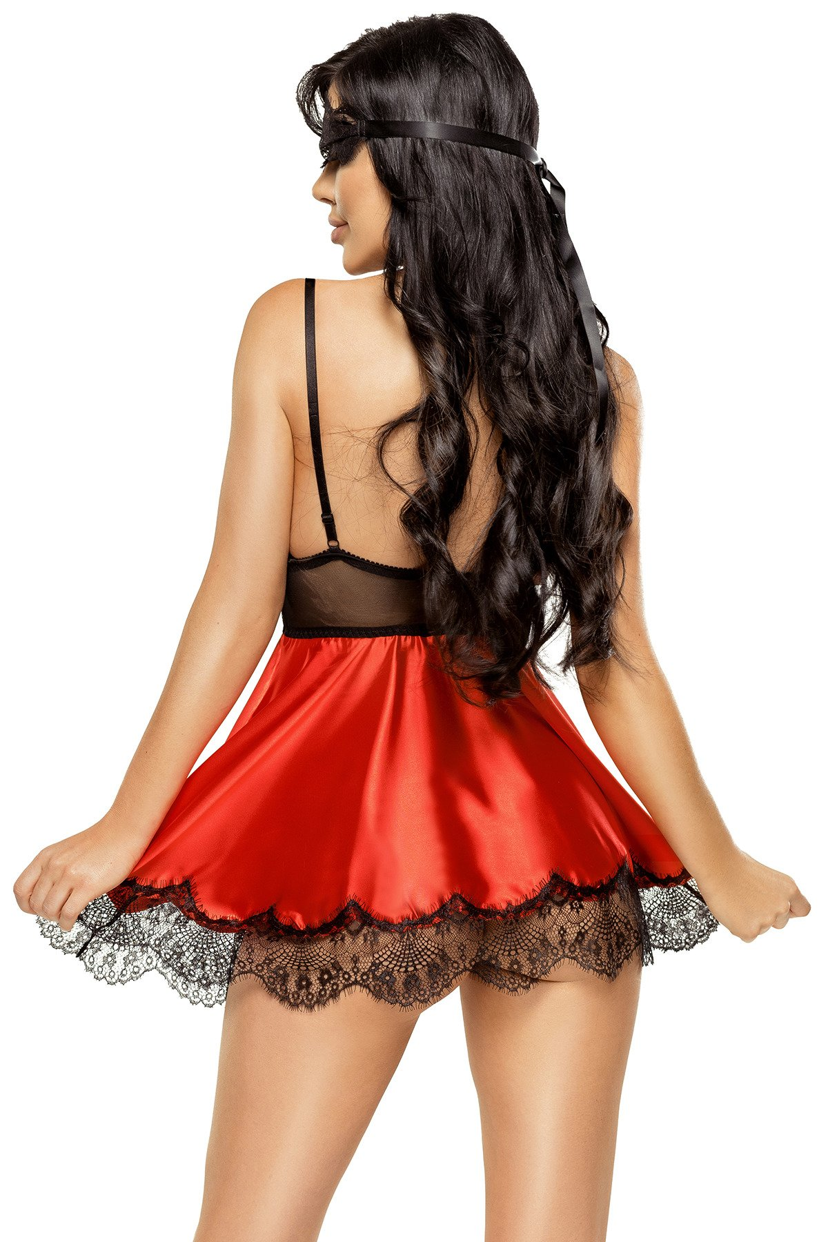Eve chemise with mask red - Beauty Night