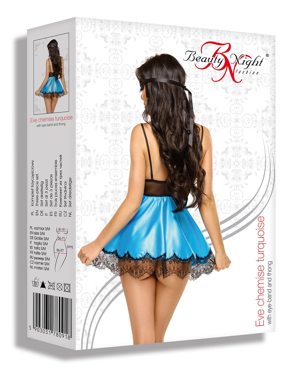 Eve chemise with mask turquoise - Beauty Night