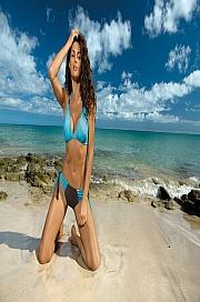 Marko - Kostium kąpielowy Roxie Seppia-Martinica M-326 niebieski z brązem  jak na zdjęciu