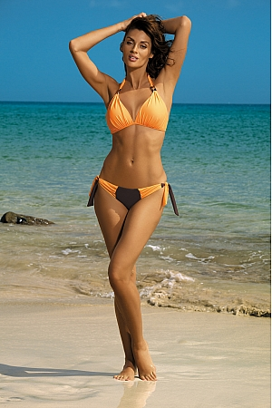 Marko - Kostium kąpielowy Roxie Seppia-Paperino M-326 pomarańcza z czekoladą  jak na zdjęciu