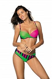 Marko - Kostium kąpielowy Tamara Blu Scuro-Blight Green-Rosa Shocking M-399  zielono-różowy
