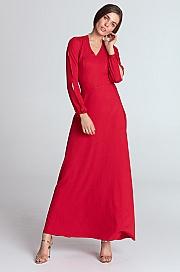Nife - Sukienka maxi z wycięciami na rękawach - czerwony
