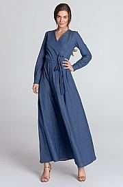 Nife - Sukienka maxi z kopertowym dekoltem - jeans