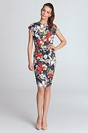 Nife - Sukienka ołówkowa - kwiaty/granat