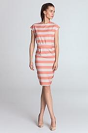 Nife - Sukienka ołówkowa - pomarańcz/paski