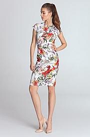 Nife - Sukienka ołówkowa - kwiaty/ecru
