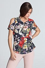 Nife - Bluzka z wycięciami na ramionach - kwiaty/granat