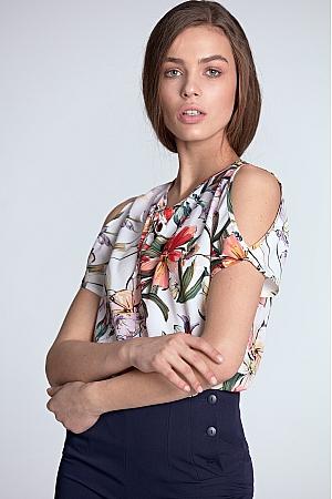 Nife - Bluzka z wycięciami na ramionach - kwiaty/ecru