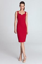 Nife - Sukienka z dekoltem w kształcie serca - czerwony