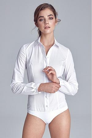 Nife - Klasyczna koszula body  - biały