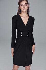 Nife - Sukienka z pasem ozdobionym napami - czarny