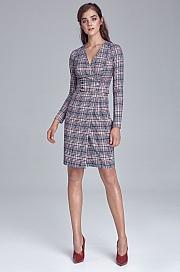 Nife - Sukienka z pasem ozdobionym napami - krata/pepitko