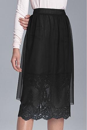 Nife - Czarna spódnica z koronką