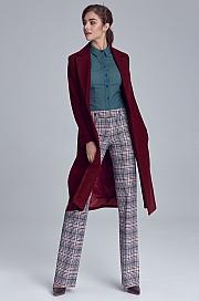 Nife - Bordowy płaszcz damski jednorzędowy