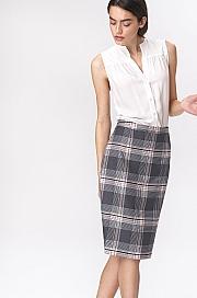 Nife - Ołówkowa szara spódnica w kratę