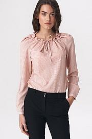Nife - Różowa bluzka z dziewczęcym wiązaniem
