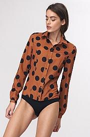 Nife - Bluzka koszulowa body w grochy