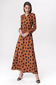Nife - Brązowa sukienka maxi w grochy