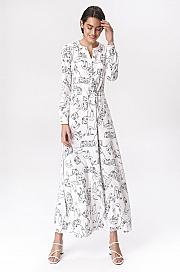 Nife - Jasna sukienka maxi w twarze