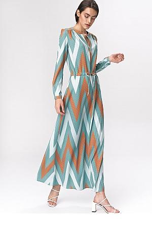 Nife - Turkusowa sukienka maxi