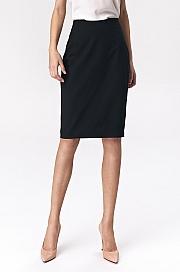 Nife - Prosta czarna ołówkowa spódnica