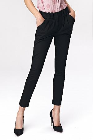 Nife - Dopasowane czarne spodnie damskie