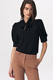 Nife - Elegancka czarna bluzka z wiązaniem na dekolcie