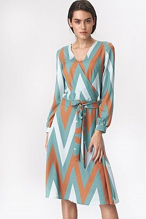 Nife - Rozkloszowana turkusowa sukienka midi w zygzak