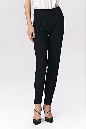 Nife - Czarne spodnie z zaszewkami