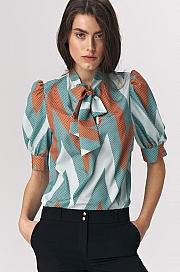 Nife - Turkusowa bluzka z wiązaniem na dekolcie w zygzak