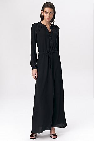 Nife - Czarna sukienka maxi