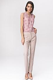 Nife - Jasnobeżowe klasyczne spodnie damskie
