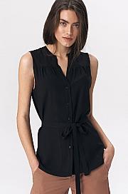 Nife - Urocza czarna bluzka bez rękawów