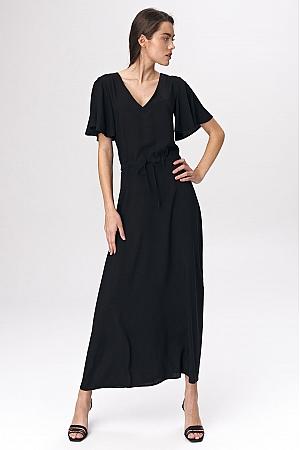 Nife - Czarna sukienka maxi z rozkloszowanym rękawem