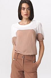 Nife - Dwukolorowa bluzka  z bufiastym rękawem