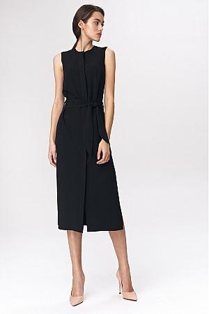 Nife - Czarna sukienka szmizjerka