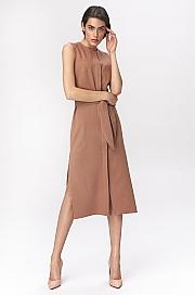 Nife - Karmelowa sukienka szmizjerka