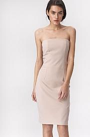 Nife - Beżowa sukienka tuba