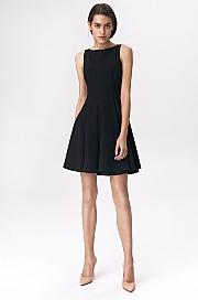 Nife - Rozkloszowana czarna sukienka mini