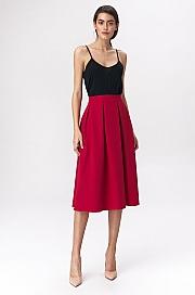 Nife - Rozkloszowana czerwona spódnica midi
