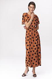 Nife - Karmelowa sukienka maxi z rozkloszowanymi rękawami -  grochy