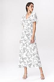 Nife - Jasna sukienka maxi z rozkloszowanymi rękawami - twarze